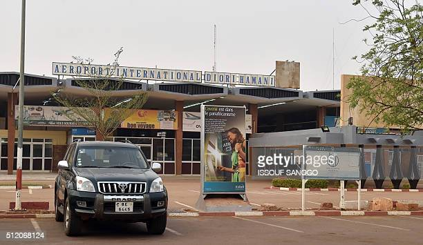 A picture taken on February 24 2016 shows the entrance of Diori Hamani International airport of Niamey during air controllers strike to ask for...