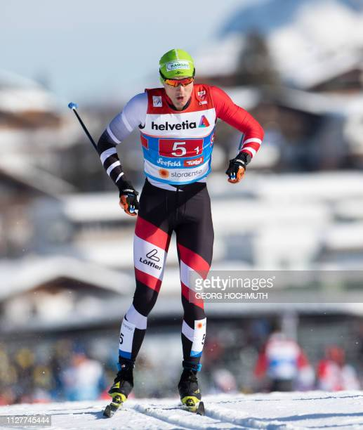 Picture taken on February 24 2019 shows Austrian crosscountry skier Max Hauke during the qualifications for the Men's Team Sprint event at the FIS...