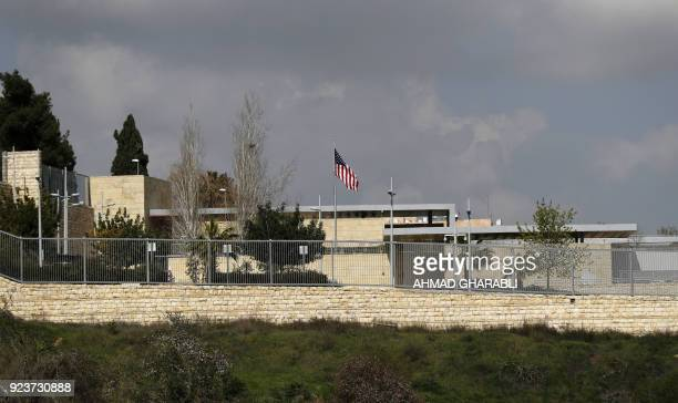 A picture taken on February 24 shows the US flag flying over the US consulate building complex in Jerusalem which is considered one of the options to...