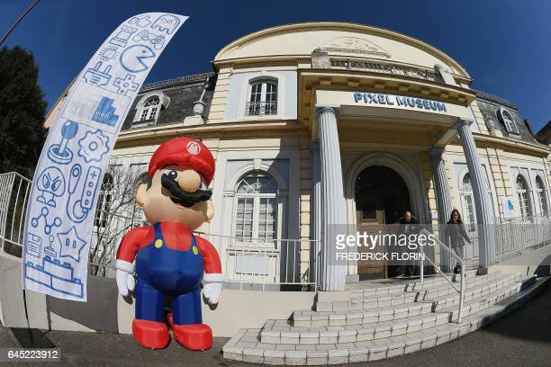 A picture taken on February 25 2017 shows the entrance of the 'Pixel Museum' the museum of video games connected leisure and video game art in...
