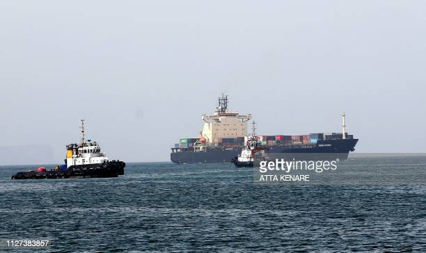 A picture taken on February 25 2019 shows ships off the Shahid Beheshti Port in the southeastern Iranian coastal city of Chabahar on the Gulf of Oman...