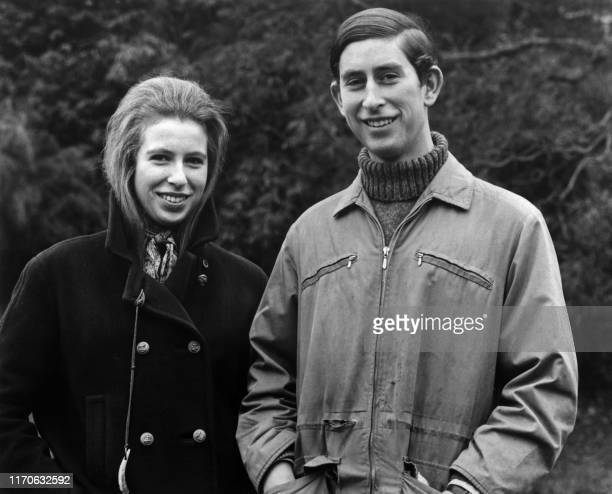 Picture taken on February 26, 1970 showing Prince Charles and Princess Anne of the royal family.
