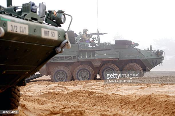 COLLIER Picture taken on February 26 2015 shows an armored fighting vehicle IAV Stryker of the US Cavalry Regiment 2nd subdivision during a partner...