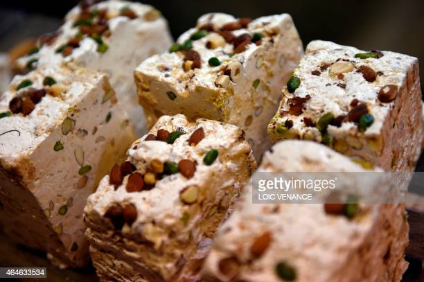 A picture taken on February 26 2015 shows nougat during the Paris international agricultural fair at the Porte de Versailles exhibition center in...