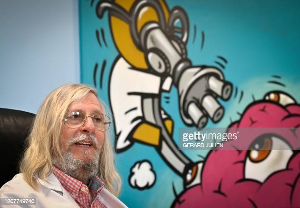 A picture taken on February 26 2020 shows French professor Didier Raoult biologist and professor of microbiology specialized in infectious diseases...