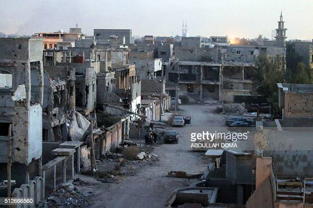 A picture taken on February 27 2016 shows damaged buildings after forces loyal to Libya's internationally recognised parliament retook the centre of...