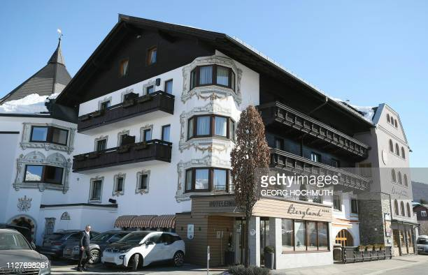 Picture taken on February 27 2019 shows the Austrian team's Hotel Bergland in Seefeld Austria where police raided rooms due to doping suspicions /...