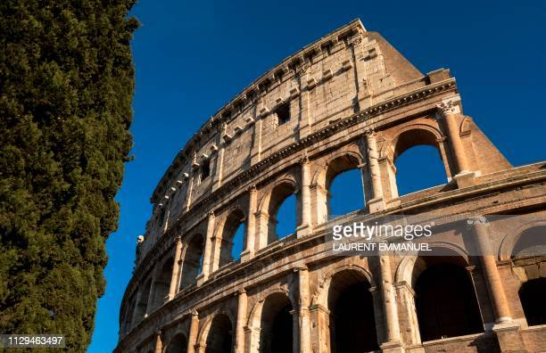 TOPSHOT A picture taken on February 27 2019 shows the Colosseum in Rome Italy