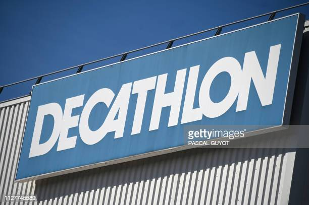 A picture taken on February 27 shows the logo at a store of French sports goods retailer Decathlon in Montpellier southern France French sports...