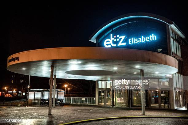 Picture taken on February 27 shows the outside of the Elisabeth TweeSteden Hospital in Tilburg, where a patient with the first confirmed case of...