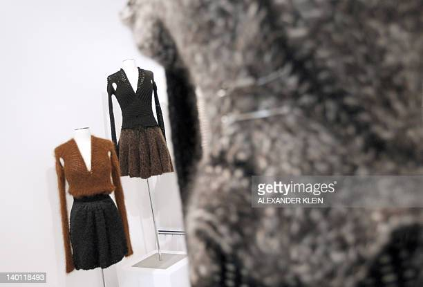 Picture taken on February 28 2012 shows creations by French designer Alice Lemoine for Le Moine Tricote a Paris during the presentation of her...