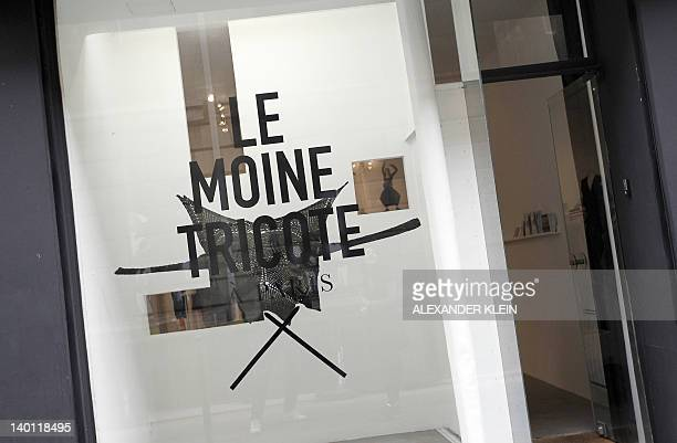 Picture taken on February 28 2012 shows the front of Moine Tricote a Paris store during the presentation of French designer Alice Lemoine's creations...