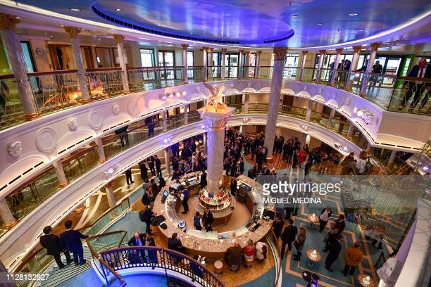 A picture taken on February 28 2019 onboard the Costa Venezia cruise in Italian company Fincantieri's shipyard in Monfalcone shows a hall inspired by...