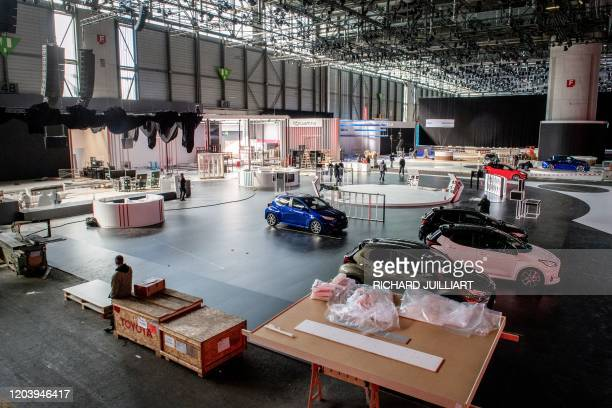 Picture taken on February 28, 2020 shows a general view of the Geneva International Motor Show, which has been cancelled due to the Covid-19...