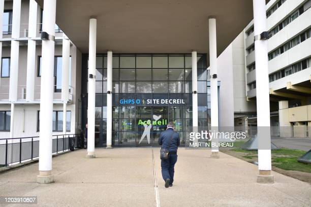 Picture taken on February 28, 2020 shows the Creil hospital, northeast of Paris, where a 60-year-old teacher who died infected with Covid-19 has been...