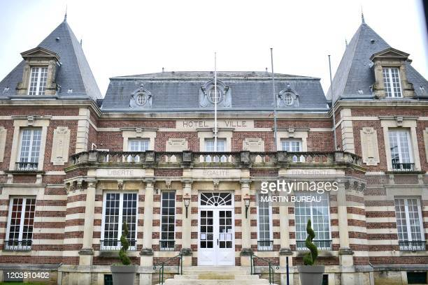 Picture taken on February 28, 2020 shows the town hall of Crepy-en-Valois, northeast of Paris, where a 60-year-old teacher who died infected with...
