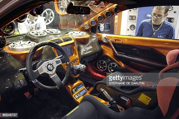 """Picture taken on February 28 shows a car exhibited during the tenth edition of the """"Paris Tuning and Racing Show"""" fair, that runs until next 03..."""