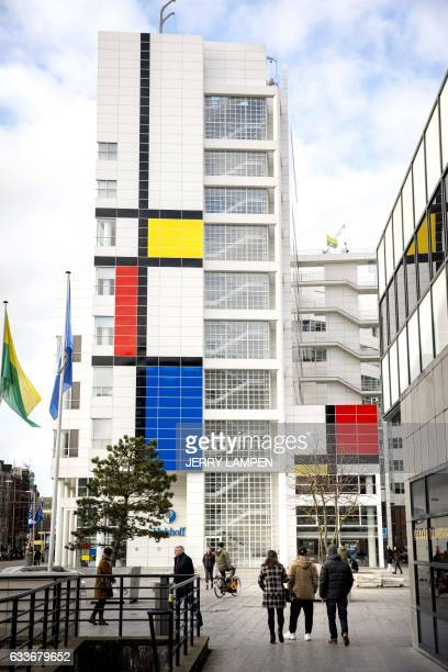 A picture taken on February 3 2017 shows the City Hall in The Hague with its facade decorated with what Dutch officials describe as 'the largest...