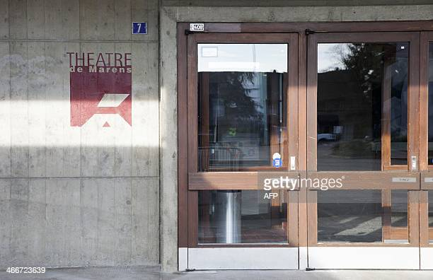 A picture taken on February 3 in Nyon western Switzerland shows the entrance of the Marens theatre where French humourist Dieudonne M'bala M'bala...