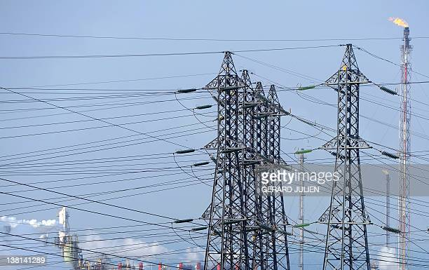 A picture taken on February 3 shows power lines near the petrochemical site of the southern French city of Martigues The French who have cranked up...