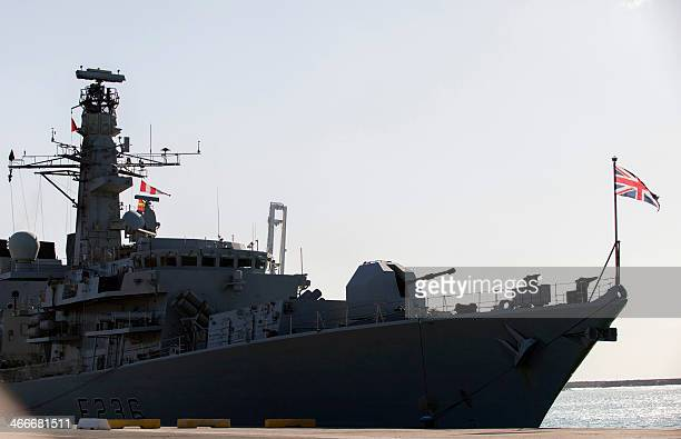 A picture taken on February 3 shows the British warship HMS Montrose docked in the Cypriot port of Limassol on February 3 2014 The Royal Navy ship is...