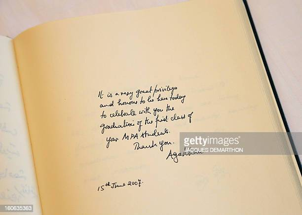A picture taken on February 4 2013 shows an autograph by Prince Aga Khan in the visitor's book of the Institute of Political Studies in Paris AFP...