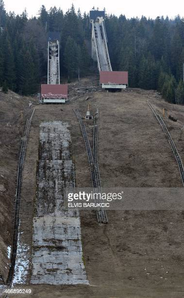 SMAJILHODZIC A picture taken on February 5 2014 shows Sarajevo's abandoned ski jumping venue at Mt Igman near Sarajevo Built and used as an Olympic...