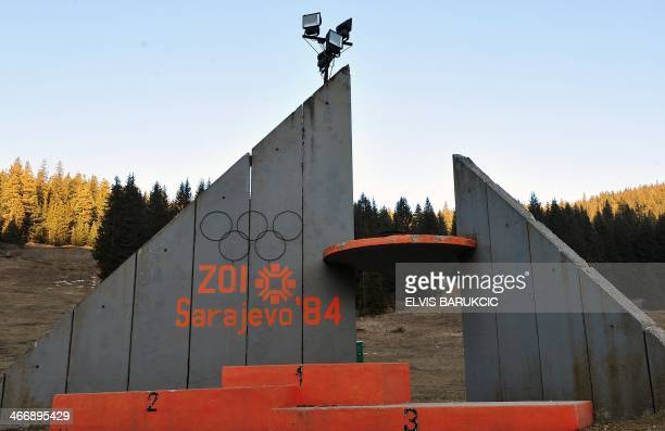 SMAJILHODZIC A picture taken on February 5 2014 shows the partialy rebuilt winners podium of Sarajevo's abandoned ski jumping venue at Mt Igman near...