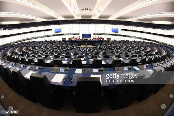 A picture taken on February 5 2018 shows a general view of the European Parliament prior to a debate on the European Central Bank's annual report for...