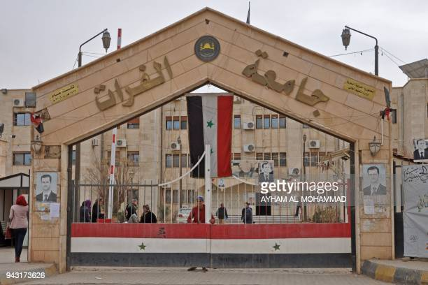 A picture taken on February 5 2018 shows a general view of the Euphrates University entrance in the Syrian city of Deir Ezzor Since a Syrian...