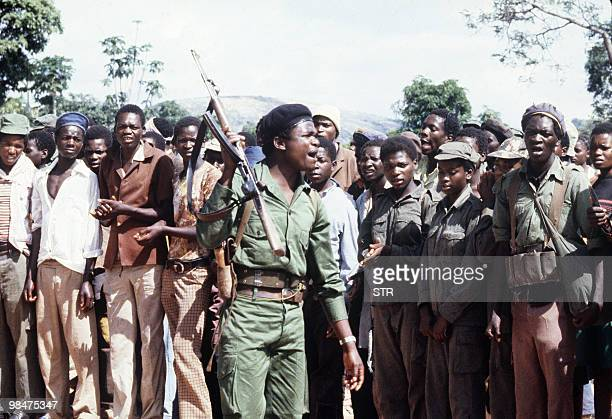 A picture taken on February 6 1980 shows members of the black nationalist guerrillas of the Zimbabwean African Liberation Army led by Robert Mugabe...