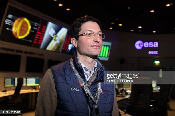 A picture taken on February 7 shows Sylvain Lodiot Spacecraft Operations Manager of the Solar Orbiter in the main control room of the European Space...
