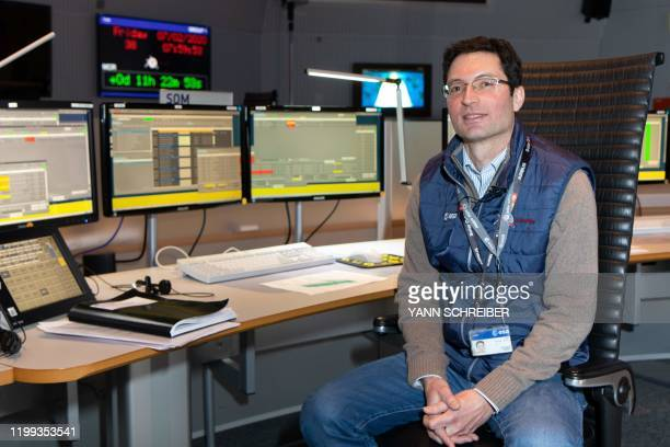 A picture taken on February 7 shows Sylvain Lodiot Spacecraft Operations Manager of the Solar Orbiter at his workstation in the main control room of...
