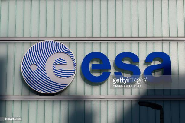 A picture taken on February 7 shows the logo of the European Space Agency at its European Space Operations Centre in Darmstadt western Germany