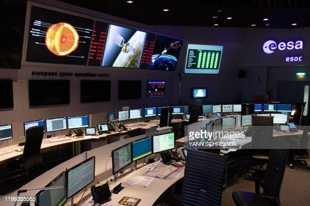 A picture taken on February 7 shows the main control room of the European Space Operations Centre of the European Space Agency in Darmstadt western...