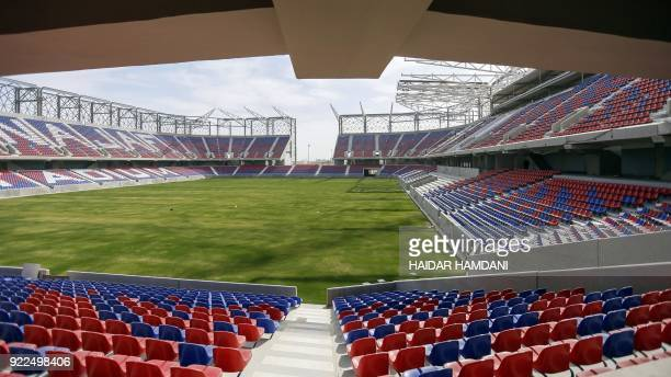 A picture taken on February 8 2018 shows a general view of the Najaf International Stadium in the central shrine city Iraq hopes that hosting Gulf...
