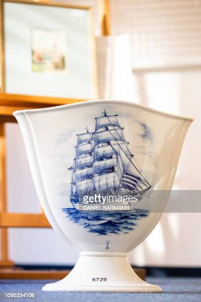 A picture taken on February 8 2019 at the Weidler auction house in the southern German city of Nuremberg shows a vase which is presumed to have...