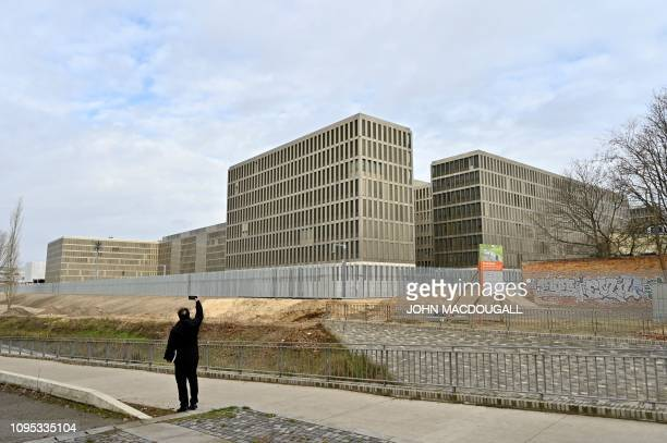 A picture taken on February 8 2019 in Berlin shows a view of the Federal Intelligence Service headquarters Located where the Berlin Wall once...