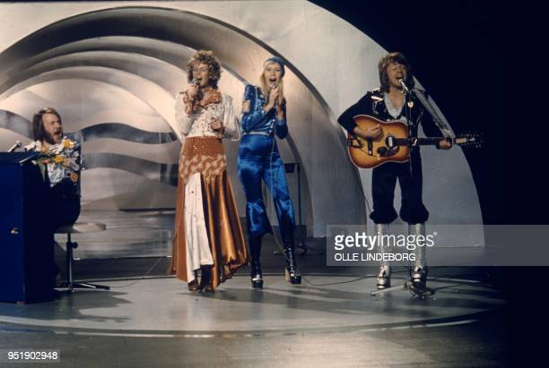 Picture taken on February 9 1974 at a studio in Stockholm shows the Swedish pop group Abba with its members Benny Andersson AnniFrid Lyngstad Agnetha...