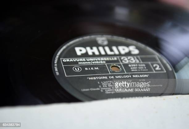 A picture taken on February 9 2017 shows a vinyl disc ahead of an auction of 15000 vinyl records at the auction house Maitre Rouillac in Vendome More...