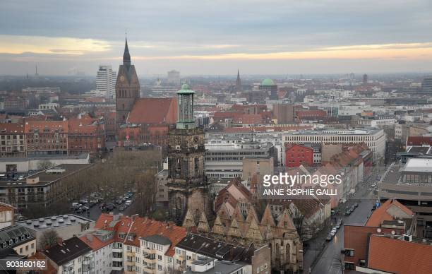 A picture taken on January 10 2018 shows a view of the city of Hanover in central Germany / Germany OUT