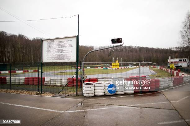 A picture taken on January 10 2018 shows the karting circuit in Kerpen located 30 kilometres from Cologne in western Germany The gokarting track at...