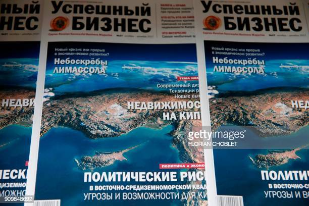 A picture taken on January 10 shows a front page of a Russian bussiness magazine at the offices of Vestnik Kipra in the Cypriot port city of Limassol...