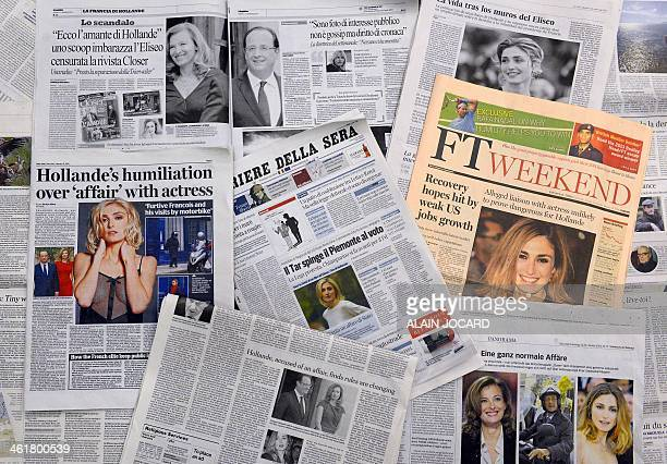 A picture taken on January 11 2014 in Paris shows several international newspapers articles about French president Francois Hollande's alleged affair...