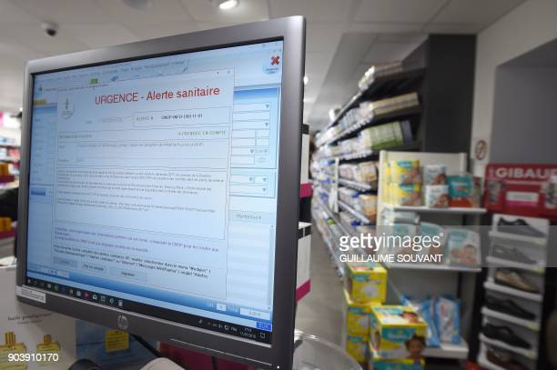 A picture taken on January 11 in Orleans shows a safety alert displayed on a computer screen in a pharmacy France said on January 11 there has been a...