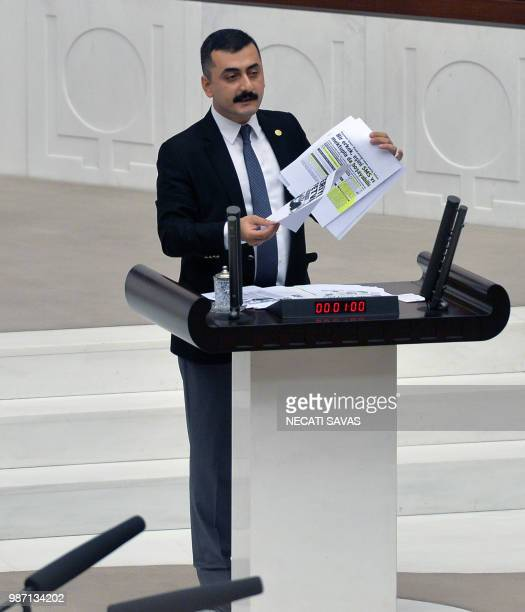A picture taken on January 12 2017 shows former Republican Peoples Party lawmaker Eren Erdem as he makes a speech at the Turkish parliament in Ankara...