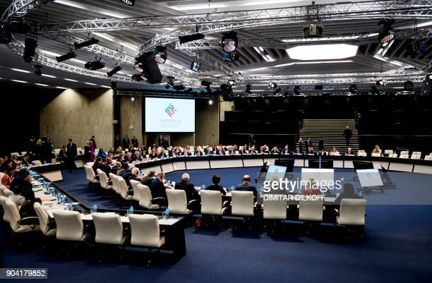 A picture taken on January 12 2018 shows a general view of the first plenary session at the start of Bulgaria's sixmonth presidency of the European...
