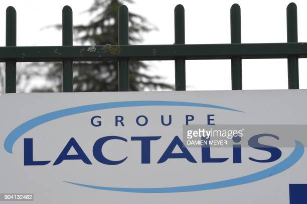 A picture taken on January 12 2018 shows the logo at the entrance of the headquarters of French dairy group Lactalis in Laval western France France...