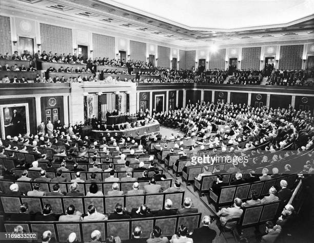 Picture taken on January 13 1951 shows a session of Congress in the House Chamber at the US Capitol in Washington DC United States The legislative...