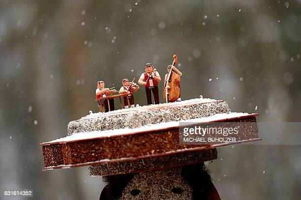 A picture taken on January 13 2017 in the Swiss canton Appenzell Ausserroden shows a detail of a hat of a yodel group 'Schuppel' member during the...